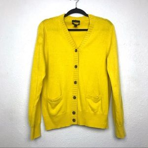 J. Crew Dream Cardigan Wool Cashmere Yellow Sz XL
